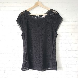 Pixley Top Black Open Thick Lace Crochet Zipper L